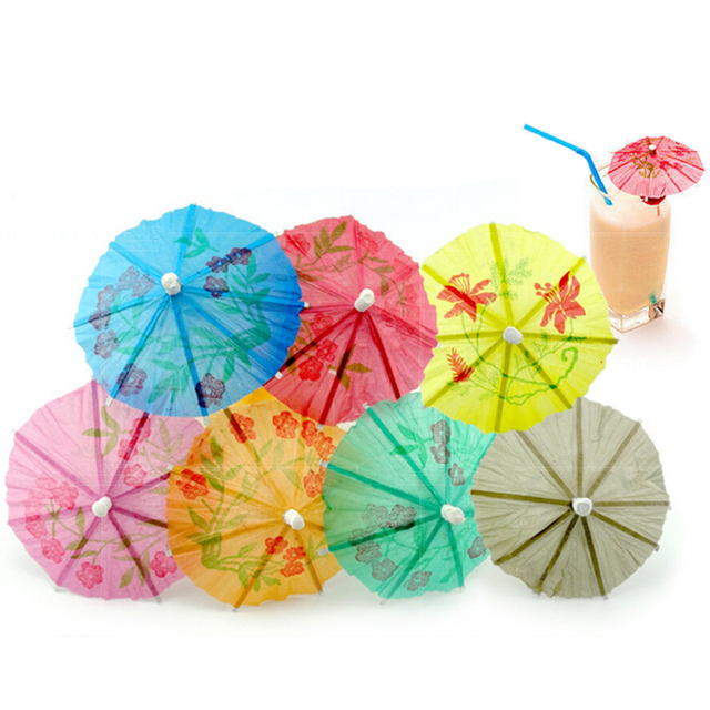 144Pcs Box Paper Drink Cocktail Parasols Umbrellas Luau Sticks POP Party Wedding Umbrella Decoration