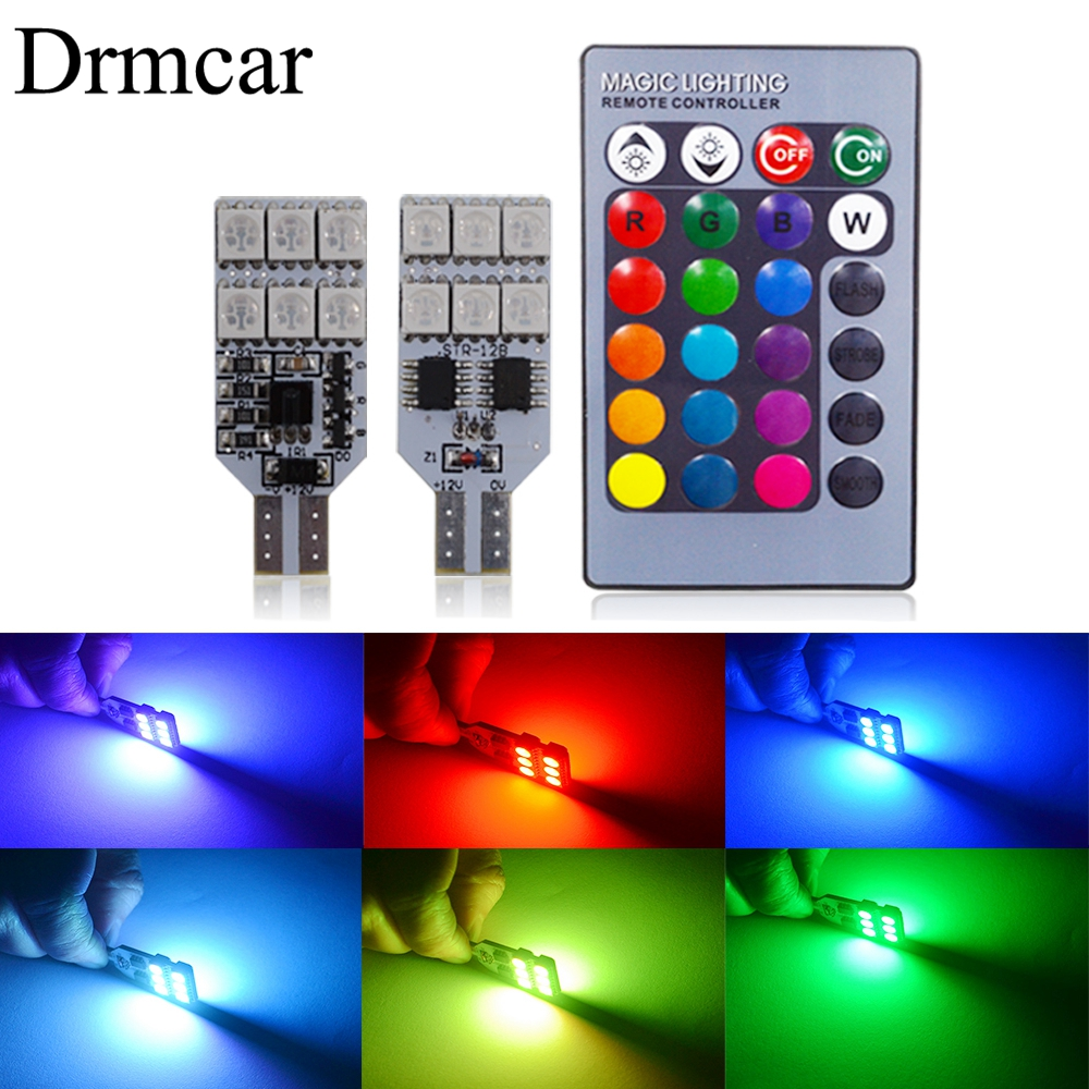 T10 RGB Multi Colors Changing LED Lamp Bulb Colorful Car Interior Light With Remote Control Auto Led Bulbs Festoon Dome