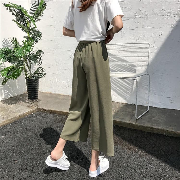 19 Women Casual Loose Wide Leg Pant Womens Elegant Fashion Preppy Style Trousers Female Pure Color Females New Palazzo Pants 26