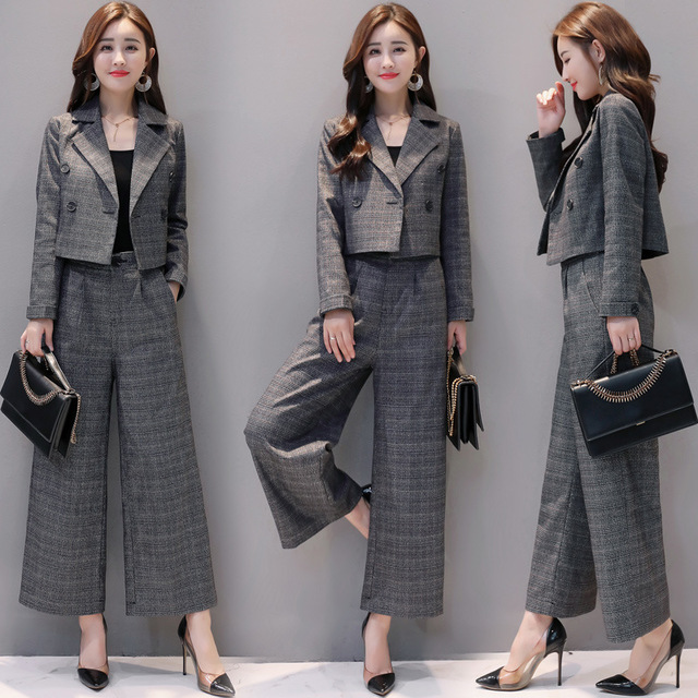 Women Elegant Plaid Pant Suit Vintage Two Piece Short Blazer and Wide Leg Pants Suit Set Womens Ol Pantsuit Formal Office Outfit