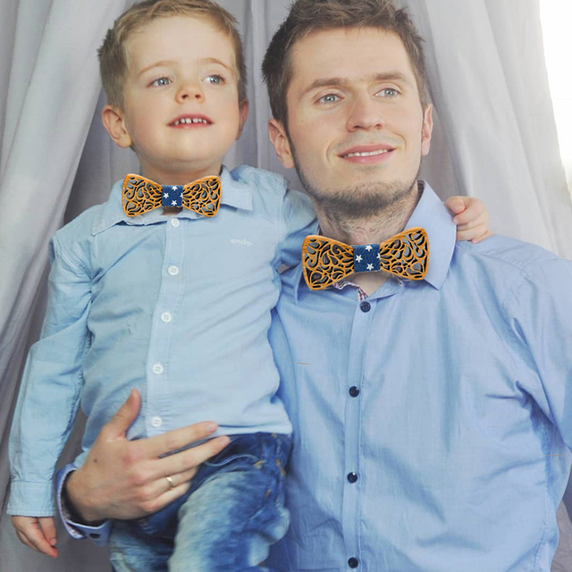 New arrival Fashion Apparel Accessories Ties Boys Wooden Bow ties Kids Children Bowties Butterfly Cravat Wood tie 1