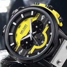 MEGIR yeni erkek saatler lüks üst marka Chronograph spor izle su geçirmez deri kuvars bilek İzle Relogio Masculino 2020