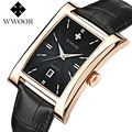 Switzerland Brand Luxury men's wristwatches quartz Square Genuine Leather Fashion male watches waterproof calendar man clocks