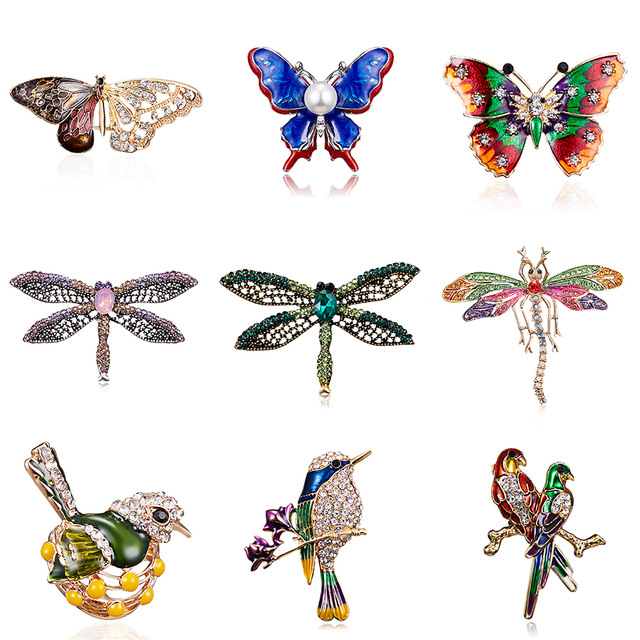 Bird-Brooches Gifts Rhinestone Insects Alloy Metal Butterfly Bragonfly Purple Women's