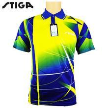 STIGA tenis stołowy Odzież sportowa Koszulki T-shirt Krótki rękaw shirt ping pong Jersey ubrania Sport koszulki tanie tanio Mężczyzn Pasuje do rozmiaru Weź swój normalny rozmiar G1403144