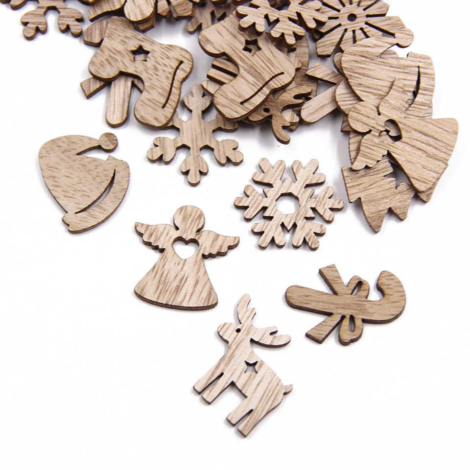 ミックススタイルミニ木材チップ Diy の木製工芸品クリスマス装飾品 DIY スクラップブッキング用品クリスマスパーティーの装飾子供のギフト