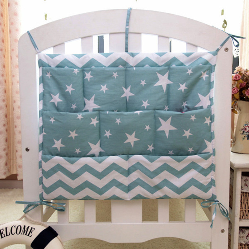 Grey Cotton Baby Bed Hanging Storage Bag Newborn Crib Diaper Organizer Toy Diaper Pocket For Baby Bedding Set Nursery 50*60CM