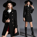 British Style 2016  Women Brand Autumn Winter Coat Double breasted Black Wool Coat manteau femme Blends Jacket