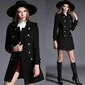 Estilo británico 2016 de Las Mujeres de la Marca Otoño Invierno Abrigo Negro de Doble botonadura Abrigo de Lana Blends Chaqueta de manteau femme