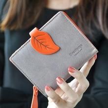 Brand fashion women wallet leaf pattern buckle ladies