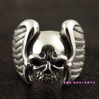 Тайландский импорт 925 стерлингового серебра, тайское серебряное кольцо скелет крылья демона крылья