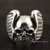 Thailand imports 925 sterling silver, Thai silver ring skeleton demon wings wings