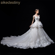 sikedestiny Wedding Dress 2018 Empire Lace Cap Sleeve