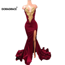 Doragrace vestidos de fiesta New Sexy Deep V-Neck High Side Split Mermaid Prom Dresses Burgundy Evening Party Gowns