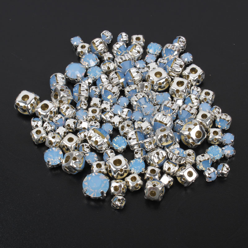 Blue Opal Sew on Rhinestones 4mm-8mm Mix Size 120pcs Silver Base Rhinestone For Clothing sewing accessories free shipping