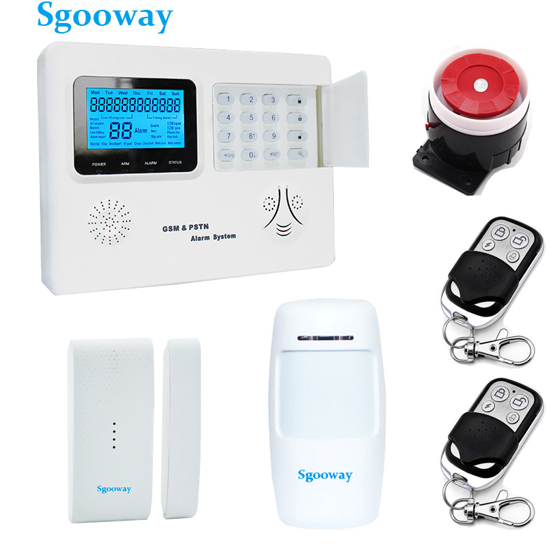 Sgooway LCD PSTN and GSM alarm system with Wireless wired zone More alarm sensor Russian English Spanish voice Home security