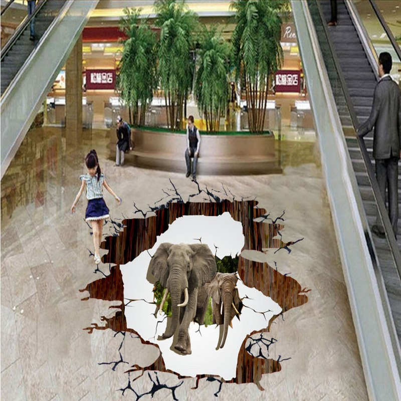 Free shipping 3D African elephant outdoor cartoon floor home decoration self-adhesive mural baby room bedroom mural wallpaper free shipping aircraft cliff 3d painting waterproof home decoration children room bedroom floor mural self adhesive wallpaper