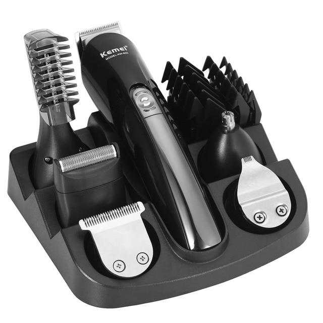 Kemei 6 en 1 profesional maquinilla de afeitar recortadora de pelo  recargable hombres barba oreja nariz 8ff3b67968c8