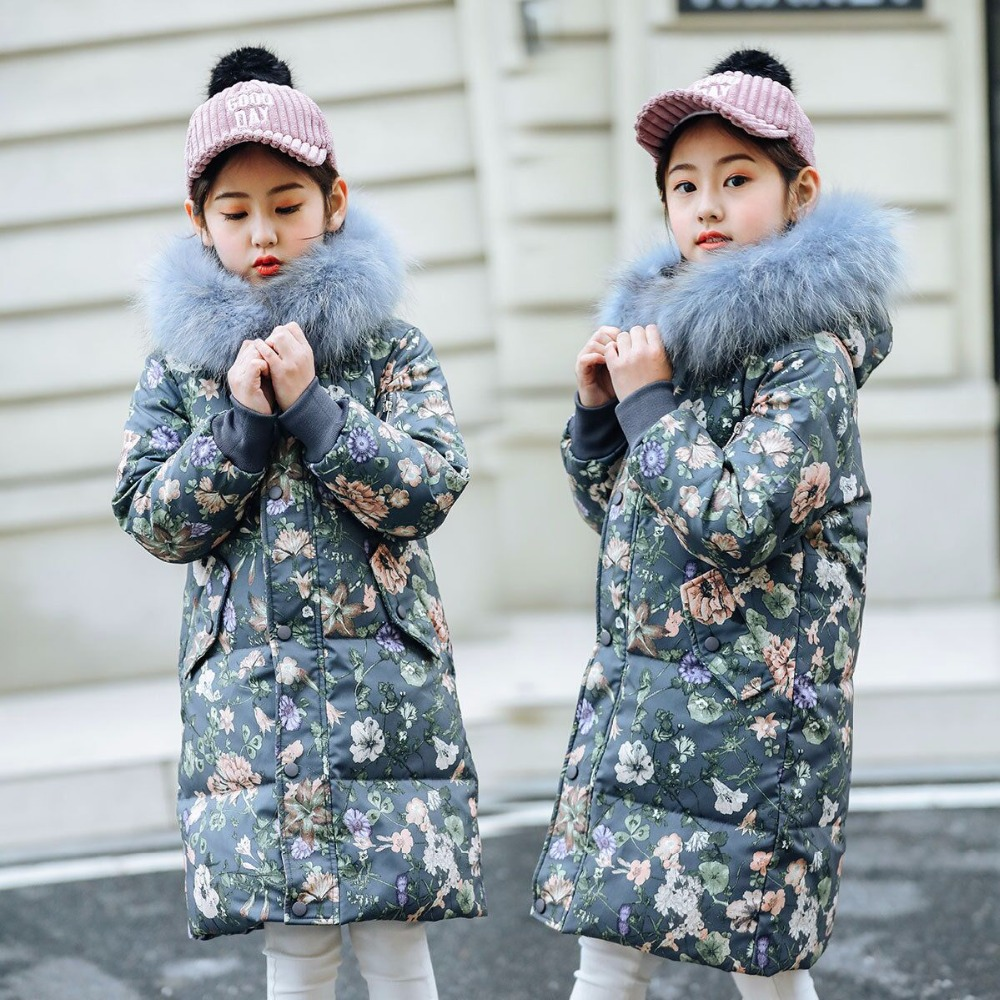 Froid hiver filles chaud vêtements 6-14 ans infantile manteau 2019 enfants épaissir veste à capuche Xmas Snowsuit chaud colliers long survêtement
