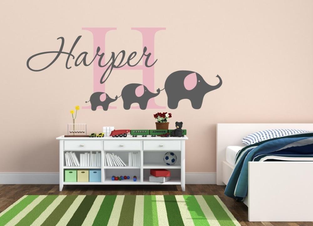 cp51 custom baby name wall sticker, cute elephants wall decal