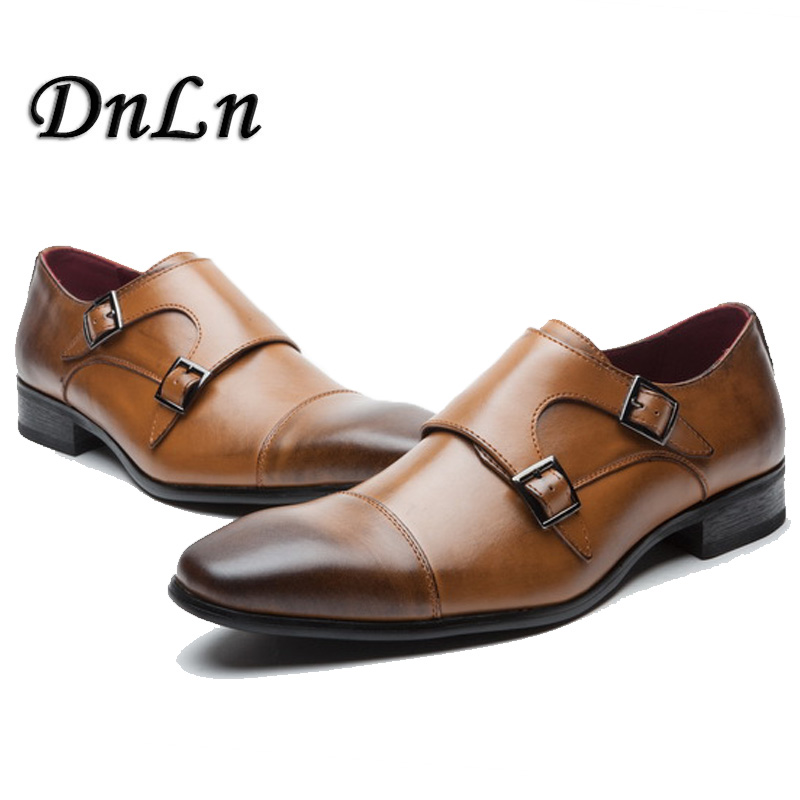 Men Cap Toe Shoes Black Brown Male Dress Shoes Double Monk Buckle Straps Wedding Office Formal Shoes Vintage