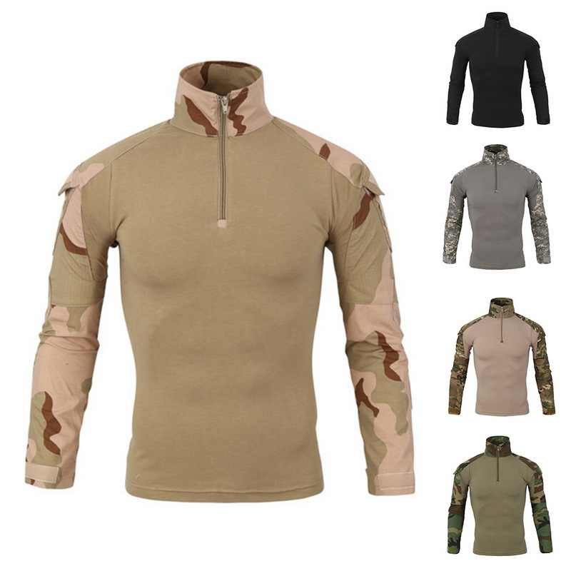 Hot Military Camouflage Patchwork Hoos Pul Long Sleeve Turtleneck Sweatshirt Tactical Uniform Top Drop Shipping