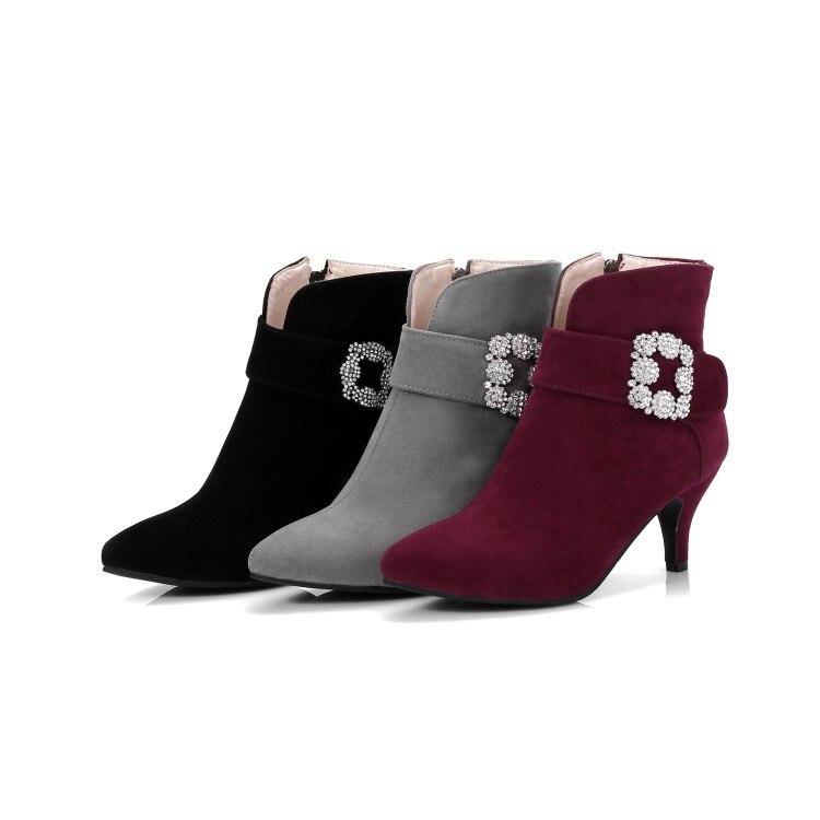 34 De Zapatos Piel Las 43 Color Caliente Calzado Alto Botas Tamaño Tacón Con Tobillo Gruesa shoes A Mujeres Black Señoras Invierno EOEW5wgqF