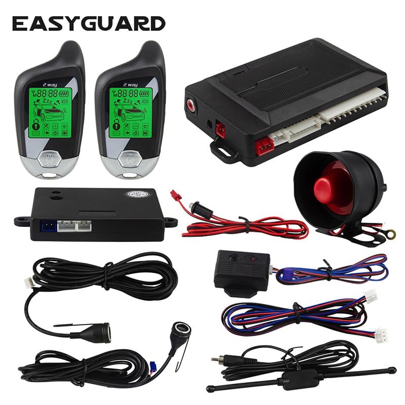 Easyguard 2 vias alarme de carro sistema de entrada keyless sistema de alarme de carro sistema de alarme de carro ultra-sônico sensor de choque alarme de carro fechadura central