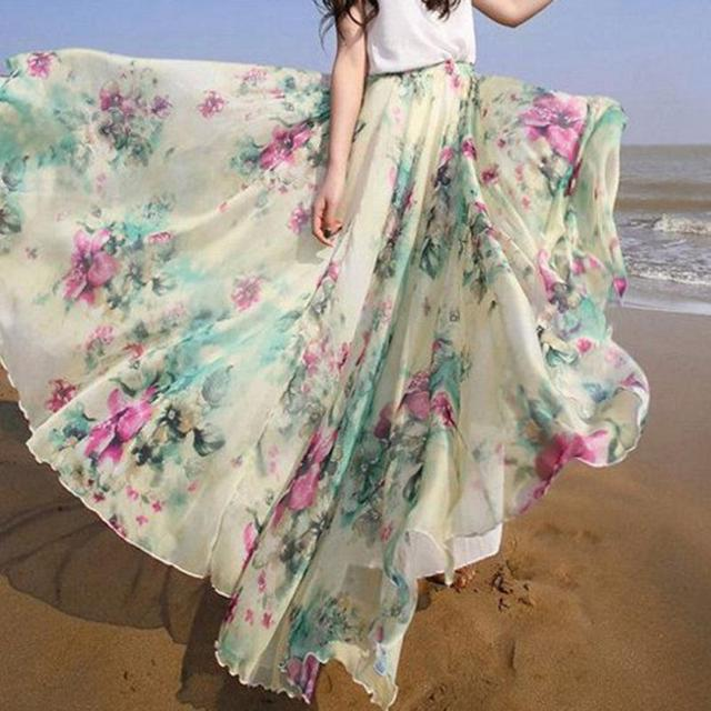 de948523f 2016 Boho Women Floral Print Jersey Gypsy Long Maxi Skirt Summer Beach Sun  Skirts High Quality Accessories S-XL Drop Ship