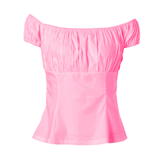 15cd6bdbb5644c Women Off Shoulder Ruffled Low Back Sexy Charming Pink Blouse Tops Girl  Vintage Design Peasant Rockabilly Female New Style Shirt