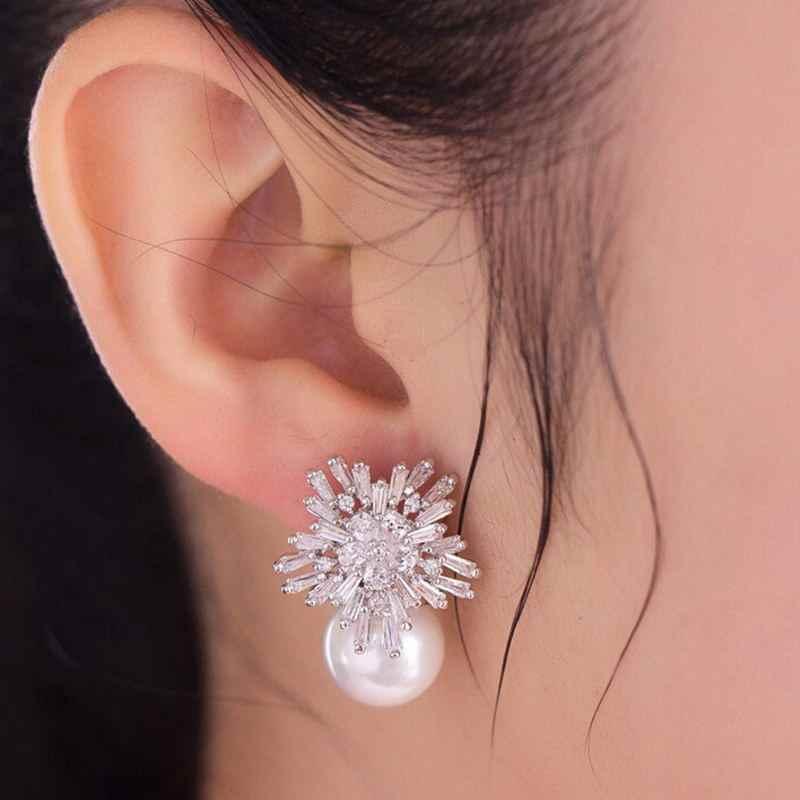 קוריאני חדש אופנה פתית שלג עיצוב לבן חיקוי פרל Stud עגילי ילדה מסיבת שמלת אביזרים אישית KE347