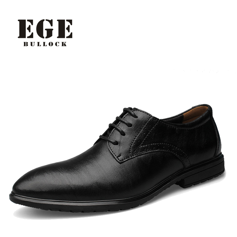 EGE Genuine Leather Men Increased Dress Shoes Plus Size Business Flats Shoes For Men Fashion Style EGE Brand Male Oxfords Shoes