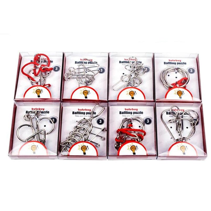 24 Pcs/ensemble En Métal Puzzle IQ Esprit Casse-tête Magique Fil Puzzles Jeux pour Enfants Adultes, Creative 3D Métal Puzzle Jouets pour enfants