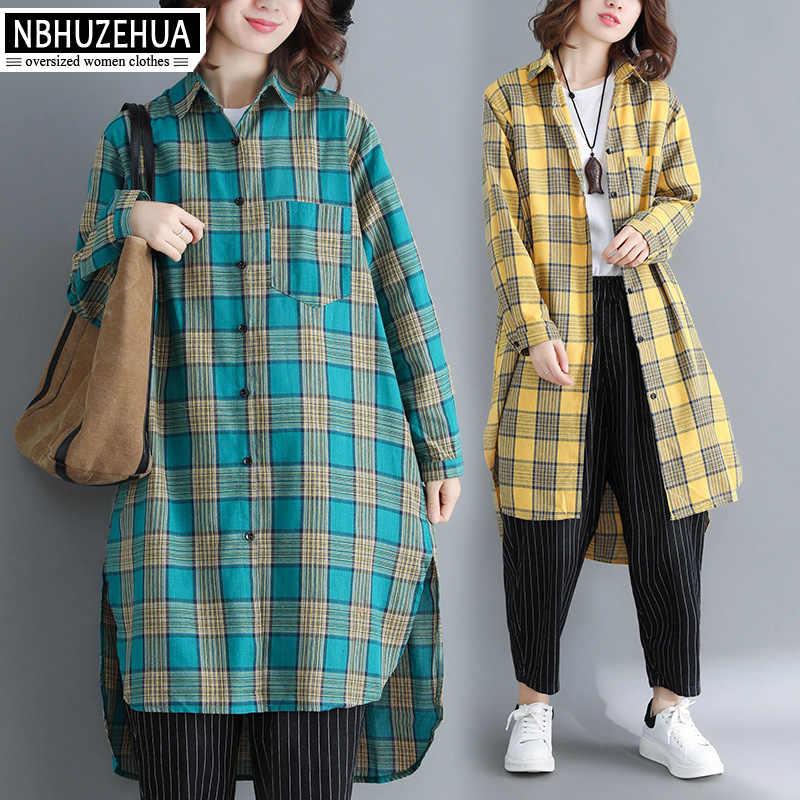 Nbhuzehua A381 Осенняя блузка Рубашки для женщин; Большие размеры в винтажном стиле, с длинным рукавом клетчатая блузка большой размер свободные длинные кимоно 4XL 5XL