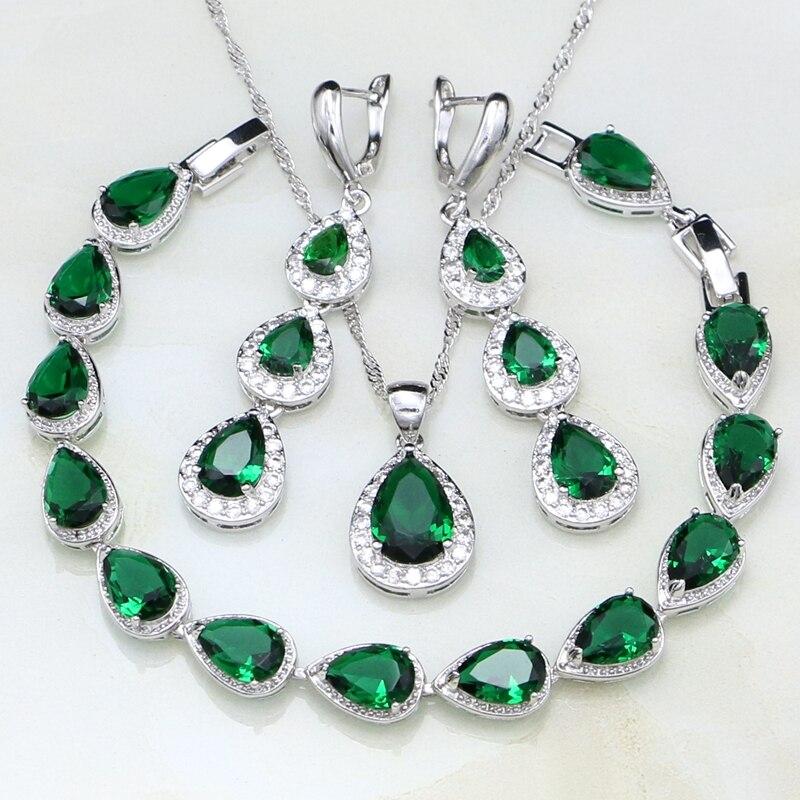 купить Water Drop Green Cubic Zirconia White CZ 925 Sterling Silver Jewelry Sets For Women Wedding Earrings/Pendant/Necklace/Bracelet недорого