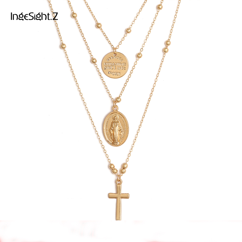 Ingesight Multilayer Cross Virgin Mary Pendant Beads Chain