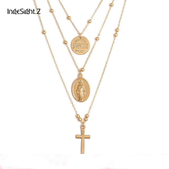Ingesight Multilayer Cross Virgin Mary Pendant Beads Chain Christian Necklace Go