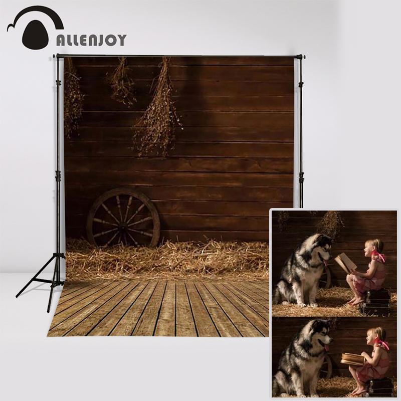 Prix pour Allenjoy Photographie fond En Bois entrepôt vieille maison bébé fille accessoires décors en tissu