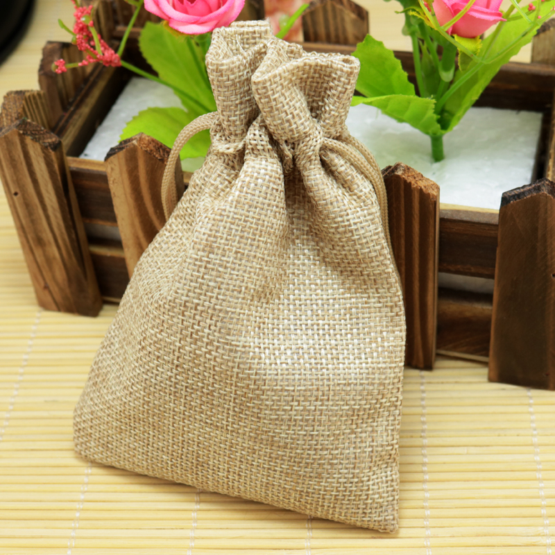 10x14cm 10pcs/lot Brown Linen Jute Bags Wedding Burlap Gift bag Drawable Jewelry Pouch Bag Favor Candy Bracelet Packaging Bags