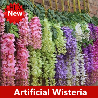 6pcs/lot Vine Artificial Flowers Wisteria Simulation Rattan Flower  Bracketplant String Plant Home Wall Decoration For Wedding In Artificial U0026  Dried Flowers ...