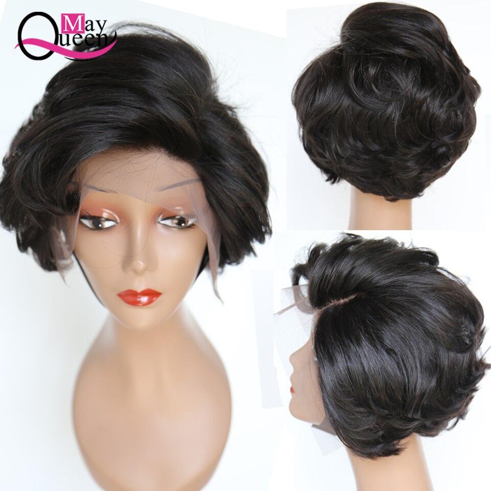 May Queen perruque courte ondulée avant de cheveux humains Remy cheveux humains dentelle frontale perruque brésilienne cheveux Bob perruque pour les femmes noires