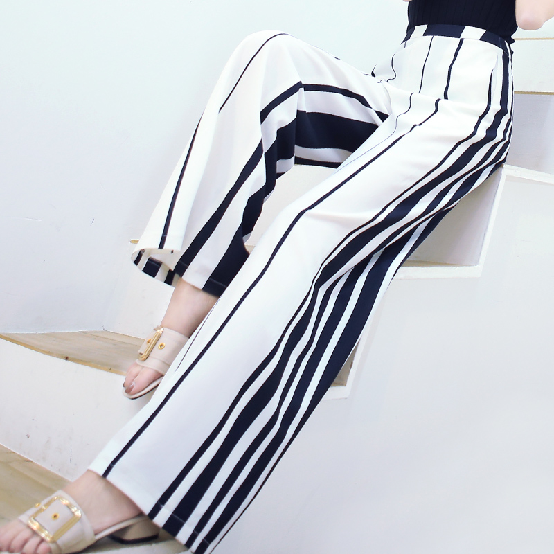 2018 new spring and summer Fashion casual chiffon thin brand female women girls high wai ...