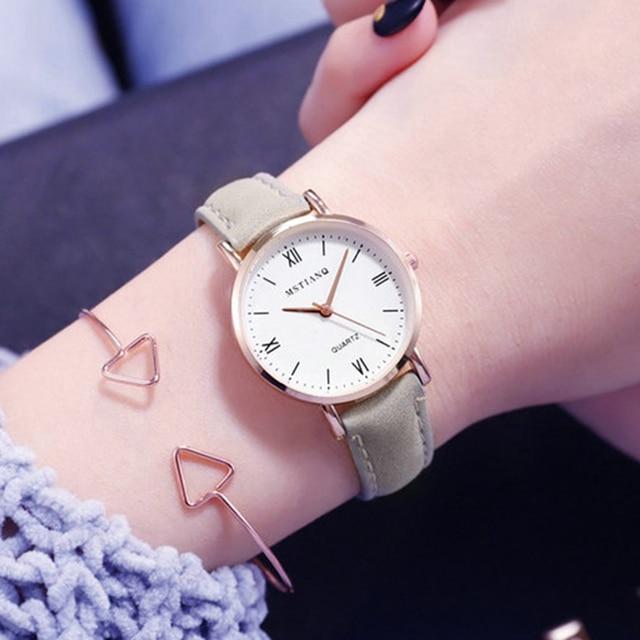 22743cef1fe4 2019 luksusowe marki zegarek damski prosty styl skórzany pasek zegarek  kwarcowy moda zegarki damskie zegarki zegar