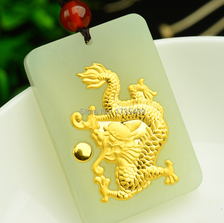High Quality Natural White Hetian and 24K Yellow gold Dragon Pendant pure 24k yellow gold natural jadeite carved dragon phoenix pendant