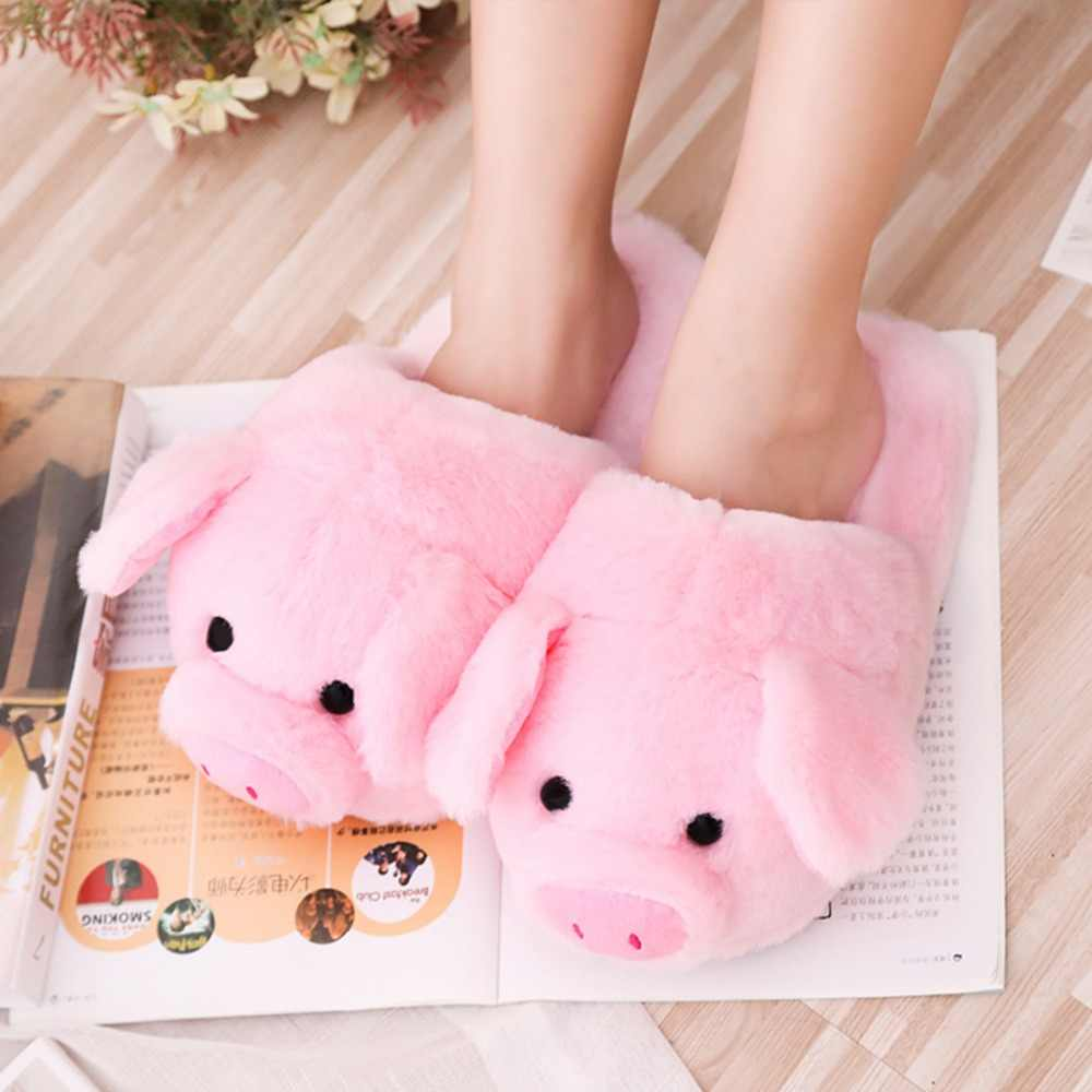 New Kawaii Pink Pig Pluls Toy Soft Stuffed Plush Pig Indoor Shoes Girls Bedroon Ornament Doll