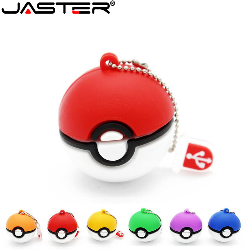 JASTER  Pokemon Usb Flash Drive Pocket Monster Poke Ball Pikachu Pendrive  4GB 16GB 32GB 64GB U Disk Memory Stick Fashion