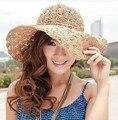 2017 Nueva Banda de la Mujer Crochet Hollow Cúpula Sombreros de Verano Para mujeres malla Sombrero de Paja Plegable Sombrero para el Sol Sombrero de Playa de Moda sombrero
