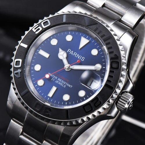41mm parnis 블루 브라운 블랙 다이얼 사파이어 로맨틱 스위트 데이트 윈도우 21 보석 miyota 자동식 무브먼트 남자 시계-에서기계식 시계부터 시계 의  그룹 3