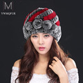 2016 Russian Winter Newest Women's Fashion Real Knitted Rex Rabbit Fur Hats Lady Winter Warm Charm Beanies Caps Female Headgear