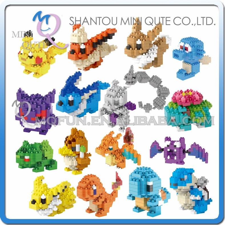 Mini Qute LNO Kawaii 22 type Anime game cartoon gift pikachu Squirtle Charmander plastic building block model educational toy стоимость